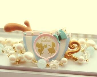 Alice in Wonderland tea cup mirror Necklace