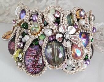 Cuff bracelet - multicolor bracelet - one of a kind