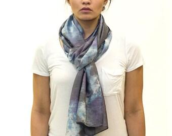 Soft Purple Blue Silver Women's Silk Cotton Blend Shibori Tie Dyed Scarf - A101
