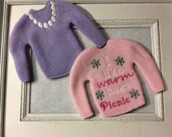 Sweater for a girly Santa's elf  Two to Choose   Personalization included