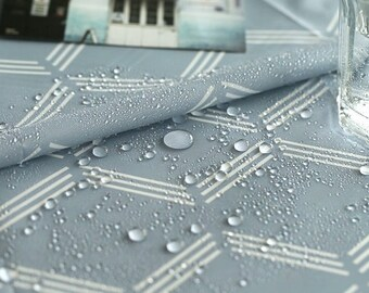 "Waterproof fabric by the yard Monoline _Blue grey_59"" 4YO 1002703"