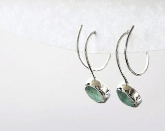 Silver Green Aventurine Earrings, Green Gemstone Jewelry, Green Semi Precious Stone, Bezel Set Earrings, Anniversary Gift