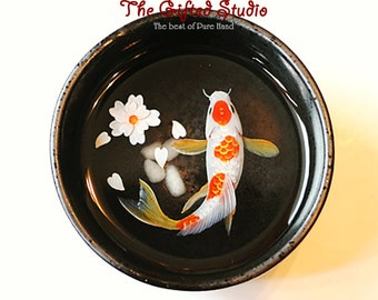Koi fish resin painting in the Japanese teacup with A FREE GIFT BOX!