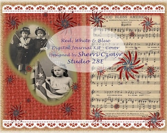 Red, White and Blue Patriotic Digital Journal Kit
