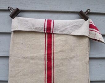 Two (2) Matching Wonderful Vintage European Grain Sacks with Red Stripes