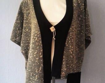 90s cardigan True Vintage top blouse XXL pepper salt shoulder pads short arm asymmetric grey green sand black plus size excentric