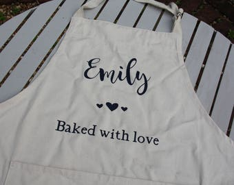 Personalised adult apron, natural, gift, cooking apron, baking apron