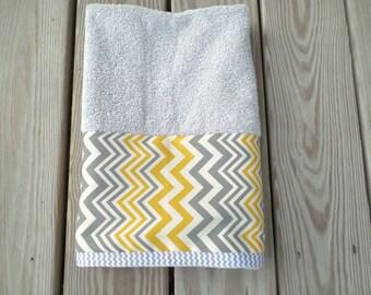 Gray Guest Hand Towel Yellow Gray Chevron Bath Home Decor Housewarming Wedding Gift