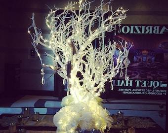 LED white Manzanita tree with crystals