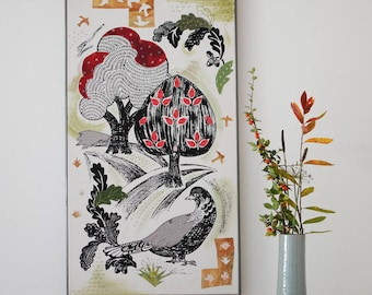 Woodland & Bird Hand Printed/ Applique Wall Canvas