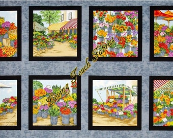 "8 Blocks / Andover ""Fresh Market Flowers"" #7130M Cotton Fabric Panel Priced Per Panel 24""x44"""