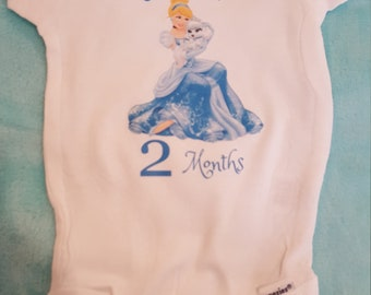 Cinderella themed monthly onesies, Cinderella Month By Month Princess themed onesies