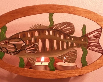 Smallmouth Bass Tealight Holder/Fisherman/Fisherwoman/Outdoors/Wood/Gift