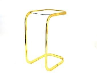 Vtg Modernist Brass & Glass Cantilever Sofa Table   Smoking Table   Minimalist Glam Tubular Frame