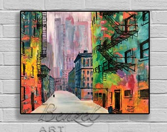 Fire Escape #1, print of an original oil painting by Ben Henry