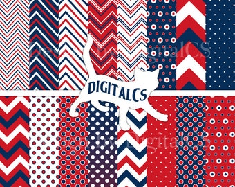 4th of July digital paper Independence day digital paper Patriotic red blue white Chevron digital paper red Memorial Day Commercial
