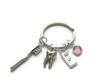 Personalized Dental Keychain, Dental Hygienist Keychain, Dentist Keychain, Tooth Brush Keychain, Tooth Keychain, Dental Jewelry Gift