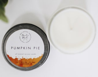 PUMPKIN PIE//Pumpkin Pie Candle//Pumpkin Candle//Fall Candle//Holiday Candle//All Natural Soy Candle 4oz