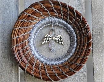 Angel Ornament Angel Pine Needle Ornament Crystal Angel Suncatcher Silver Angel Pine Needle Coiled Ornament For Him Ornament For Her