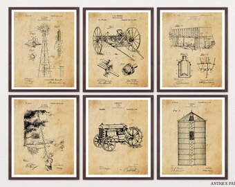Farm Patent Collection - Farm Art - Farm Poster - Tractor Patent - Dairy Cow - Farming Art - Farmhouse - Silo - Windmill - Windmill Patent