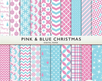 Pink and Blue Christmas Digital Paper - 20 sheets - Holiday - Scrapbooking Commercial Instant Download & Printable G7349