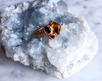 Citrine, Rhodalite Garnet and Faceted Kyanite ring Size 6 3/4