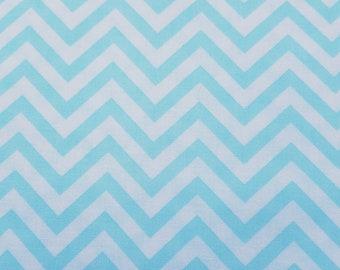 Blue Chevron Fabric, Blue Zigzag Fabric, WV PR Zigzag Glacier Cotton Fabric