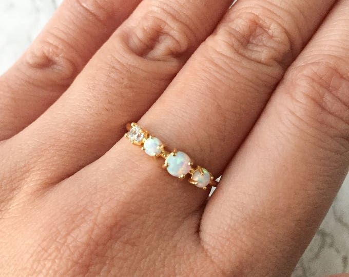 White Multi Opal Gold Ring - Adjustable