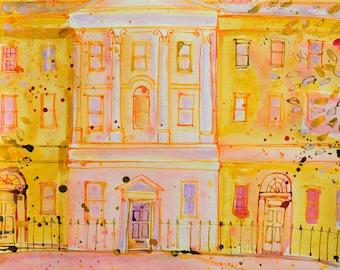 St JAMES SQUARE, BATH Print, Fine Art Giclee Print, Classic Bath Architecture, Golden Wall Art, by Sasha Barnes