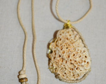 Necklace Shell on Hemp, Beach Junk Necklace, Shell Wrapped in Wire on Hemp, 1 of a kind Shell Necklace, Beach Junk Jewelry by EGT, Shells