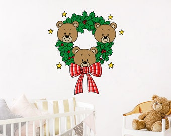Wreaths Full Color Mural Bears Vinyl Sticker Trendy Christmas Decoration Nursery Colorful Bedroom Playroom Baby Room Kids EN47