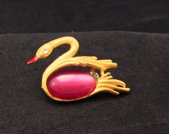 Vintage Pink Jelly Belly Swimming Swan Egret Crane Bird Brooch Pin, Ladies Pink Jelly Belly Swan Pin