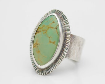 Turquoise Ring Sterling Silver Ring Marquise Shaped Boho Jewelry Gift for Her Adjustable