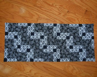 "Handmade Quilted Table Runner / Topper  Black and White 32""x13.5"""