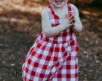 Red Gingham Pinafore Dress, girls dress, baby girl dress, baby dress, toddler dress, infant dress, apron dress, pinafore dress, plaid dress
