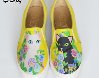 FELES - Cat shoes, black and white cats, kitties slip on, floral cats, miaow slip on, custom design shoes