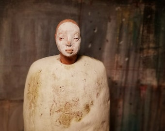 Man, Standing/ Ceramic Colorful Unique Standing Sculpture/ Male Figure