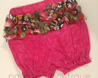 18M Ruffle Bottom Bloomers, Diaper Cover, Pink, Photo Prop