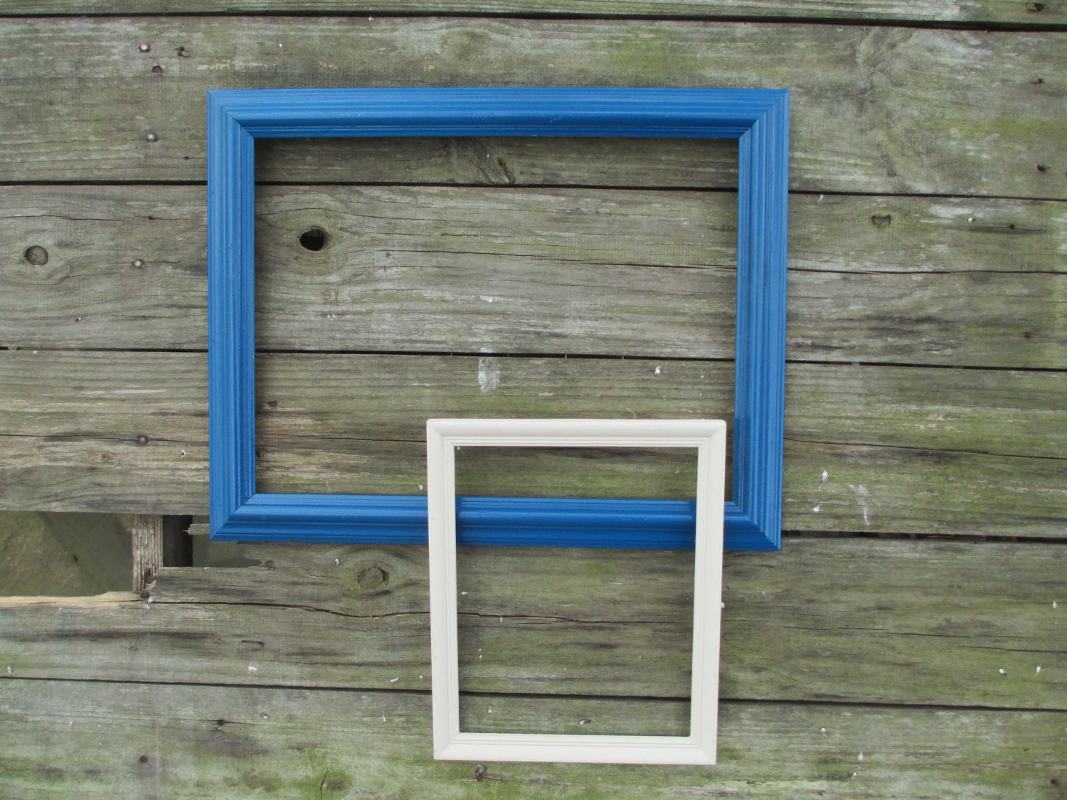 2 Vintage Wood Frames ~ Blue Wood Frame and White Wood Frame ~ 12 x ...
