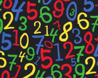 Numbers Fabric:  Fabri-Quilt Back To School Numbers on Black  100% cotton fabric by the yard (FQ79)