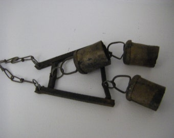 Vintage/Antique cow/ox bells  handmade rolled and riveted soldered cross pieces