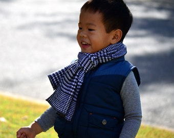 Toddler Flannel Scarf in Black and White- boys girls houndstooth checked plaid cotton scarves washable