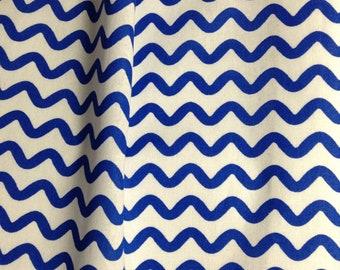 SALE - One Half Yard  of Fabric - Ric Rac Stripe Blue