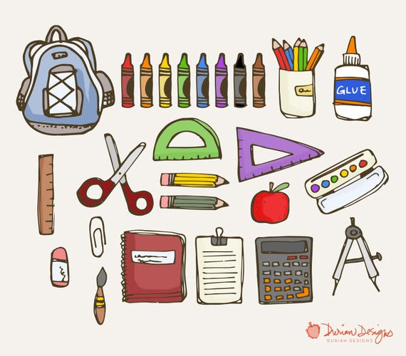 School supplies clipart commercial use pens pencils clip art school supplies clipart commercial use pens pencils clip art crayons rulers notebook drawn illustration glue scissors instant download from duriandesigns voltagebd Image collections