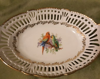 Schwarzenhammer Reticulated  Porcelain Bowl -Macaw and Parrot
