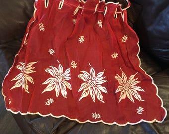 Vintage Sheer Red Poinsettia Christmas Apron