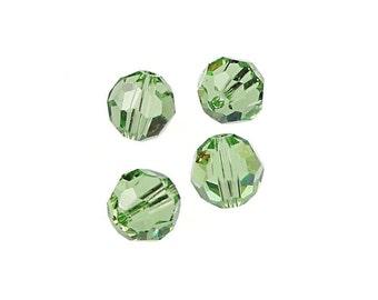 8mm PERIDOT Swarovski Beads 5000 8mm Faceted Round Beads Swarovski Austrian Crystal Light Peridot Green