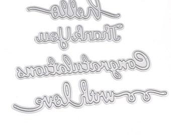 4pcs With Love/Thank You/ Congratulations/ Hello/ Cutting Dies Stencils DIY Scrapbooking Album Decorative Craft