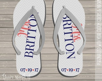 wedding flip flops - bride to be personalized last name and date wedding flip flops