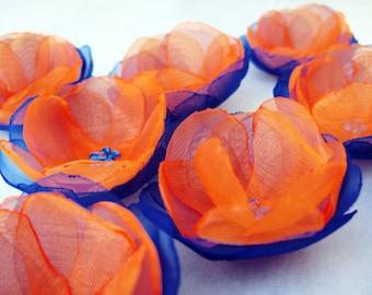 8 pcs. Roses with Royal Blue/Sapphire  Organza and Orange Organza Fabric